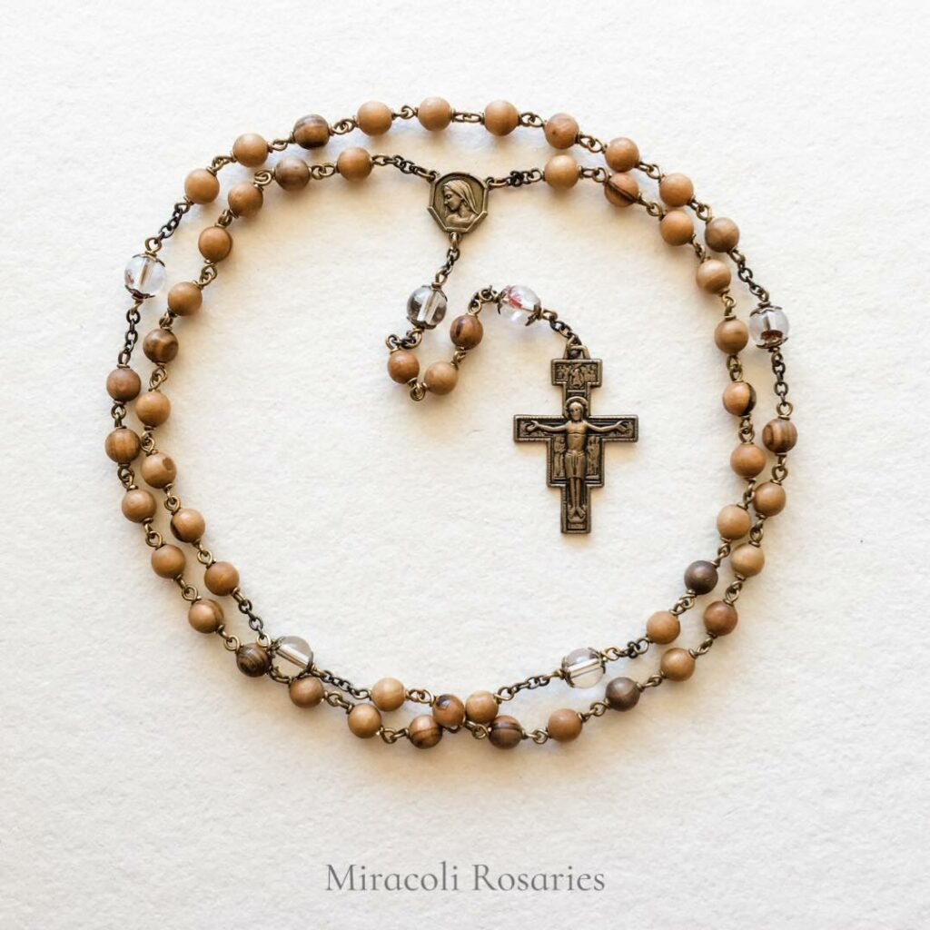 Carlo Acutis Handmade Rosary with Lodalite and Olive Wood by Miracoli Rosaries